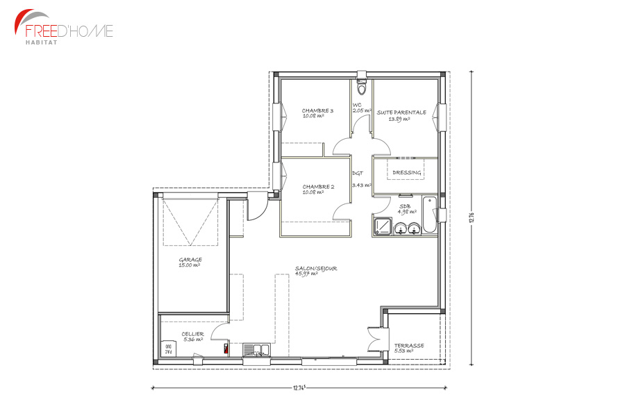 Plan de maison en l avec garage images for Plan de maison en l