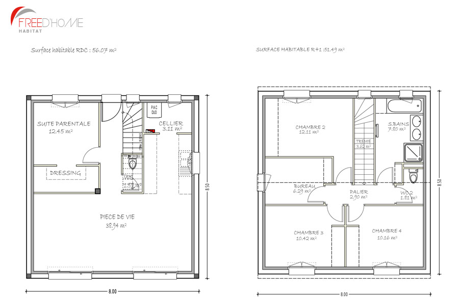 Plan maison carre maison chambres plan meuble with plan for Plan maison carree plein pied