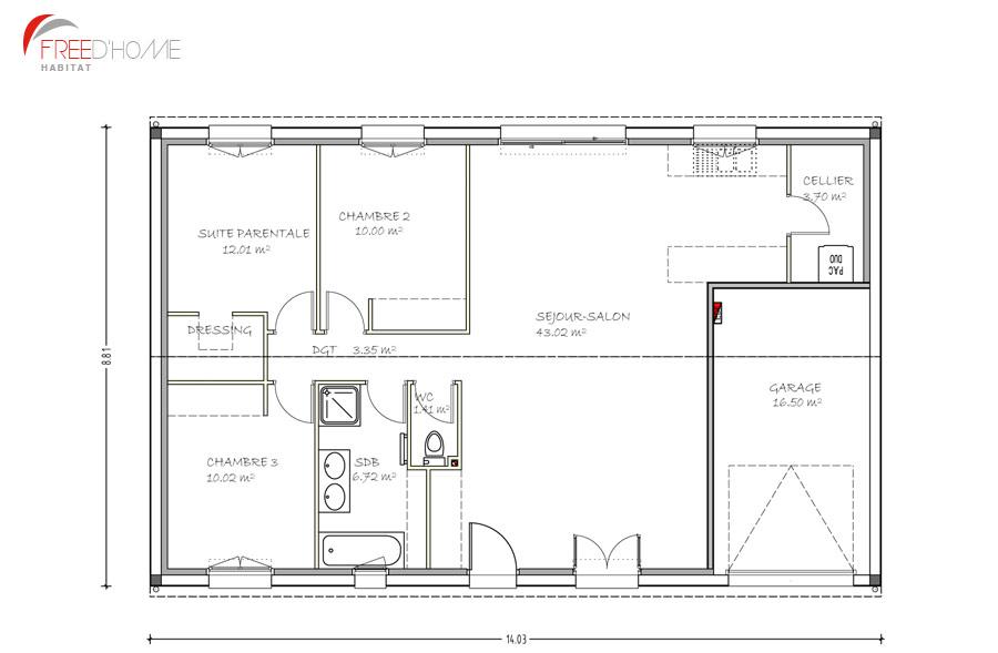 Plan de maison 100m2 3 chambres plan maison 90 m2 pas - Plan maison avec garage ...