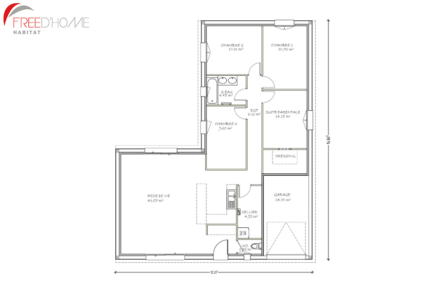 Plan maison avec garage simple plan d maison moderne r for Plan de maison en l avec garage
